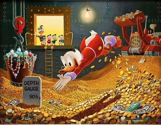 Joakim dyker i ett hav av pengar