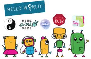 Logotypes för olika programmeringsskolor